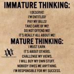 Immature Thinking vs Mature Thinking
